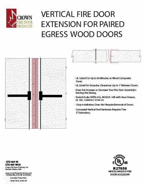 Vertical Fire Door Extension for Paired Egress Wood Doors