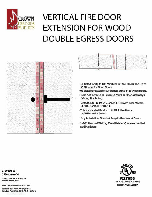Vertical Fire Door Extension for Wood Double Egress Doors